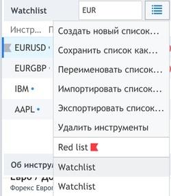 список наблюдения TradingView