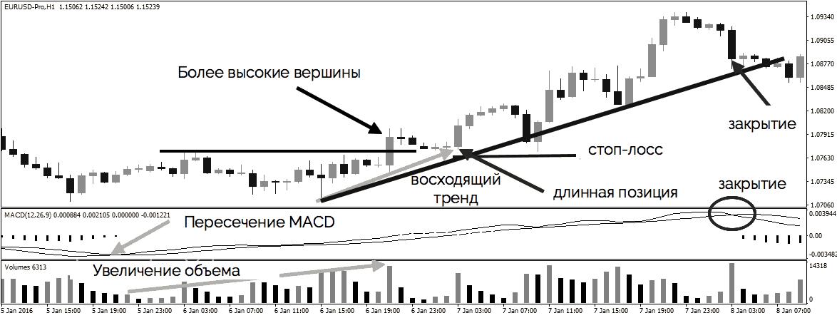 стратегия торговли по тренду и индикатору MACD